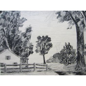 Vida Primm Black And White Landscape With Patmore Drawing Board Stamp