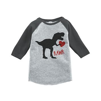 Custom Party Shop Kids Dinosaur Happy Valentine's Day Grey Raglan