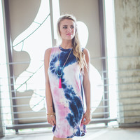 Classic Tie Dye Dress in Pink