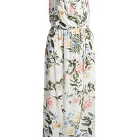 EVERLY Ruffle Wrap Maxi Dress White Floral $49