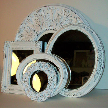 5 Chippy White Shabby Chic Ornate Wall Mirrors