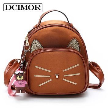 DCIMOR New Velour Backpack For Teenage Girls School Bags With Embroidered Cat Whiskers And Ears