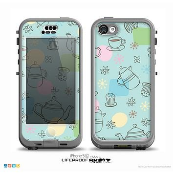 The Subtle Blue With Coffee Icon Sketches Skin for the iPhone 5c nüüd LifeProof Case