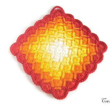 Potholder crochet, Original Potholder White, Yellow, Orange and Red, Presina colorata (Cod. 29)