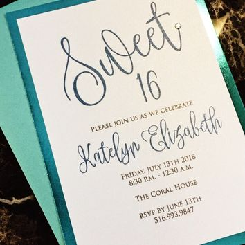 Tiffany Blue and White Sweet 16 Invitations - Sweet 16 Invites - KATELYN VERSION