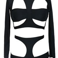 Black Cut-Out Long Sleeve High Waist Bikini