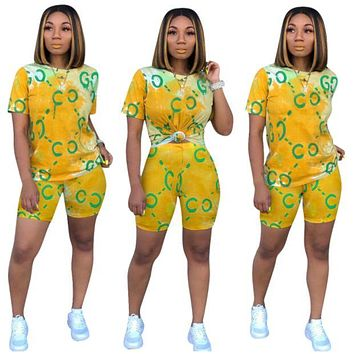 GUCCI Women Fashion Short Sleeve Top Shorts Two-Piece