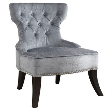 Office Star Colton Vintage Style Button Tufted Velvet Chair with Nailhead Detail and Spring Seat in Brilliance Sea Blue fabric [CLT-B46]