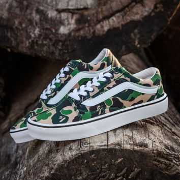 4c278de47c3f96 Sale BAPE x Vans Old Skool Custom Dark Camo Green Camouflage Low