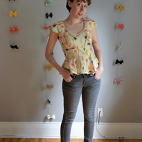 The Right Direction Top. XS - 2X, Petite - Tall. Pink, Mustard & Charcoal on Cream. 1950s Vintage Inspired. Fall.