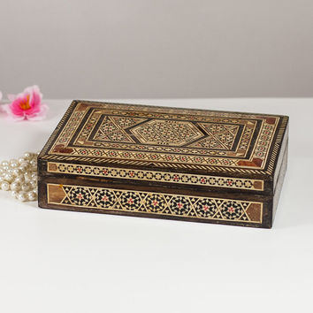 Jewelry Box Wooden Inlay Mosaic, Keepsake box with Islamic Inlaid Mosaic, Trinket Box with Geometric Pattern, Wood Chest Unique Gift for Her