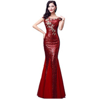 Floor Length Red Blue Mermaid Sequin Elegant Floral Ladies Cheap Long Prom Dresses Party 2017 Plus Size Mother of the Bride A30
