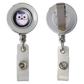 Cute Purple Owl Retractable Reel Chrome Badge ID Card Holder