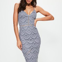 Missguided - Blue Lace Ladder Detail Midi Dress