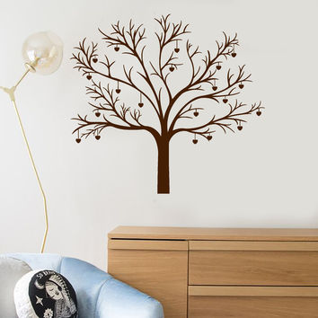 Vinyl Wall Decal Romantic Tree Bedroom Art Room Idea Hearts Love Stickers Mural Unique Gift (ig5033)