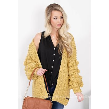 Golden Rod Rope Knit Chunky Cardigan