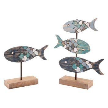 A10656 Set Of 2 Fish Figurines Antique