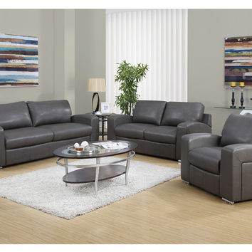Charcoal Grey Bonded Leather / Match Sofa