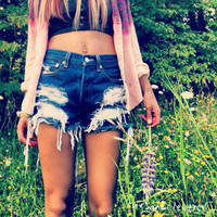 Urban Eclectics — High Waisted Distressed Shorts