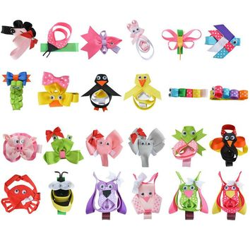 "24PCS 2-2.5"" Cute Tiny Hair Bows For Girls BB Hairpin Kids Animal Ribbon Covered Hair Clips DIY Kawaii Anime Hair Accessories"