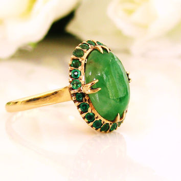 exquisite vintage jade emerald ring 14k yellow gold filigree ring lady di style alternative engagement - Jade Wedding Ring