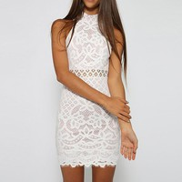 Lace Hollow Bodycon Sleeveless Dress