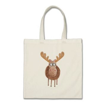 Watercolour Moose Tote
