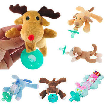 2016 New Sweet Novelty Baby Pacifier Soother Baby Boy Girl Toy Funny Pacifiers Animal Funny Plush Toys