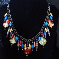 Color Explosion Paper Bead Necklace | paperpearlsjewelry - Jewelry on ArtFire