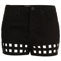 MOTO Cut Out Hem Denim Hotpants - Shorts  - Clothing