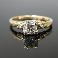 Vintage Diamond Engagement Ring Illusion Head Two Tone Swirl Shoulders Unique RGDI716