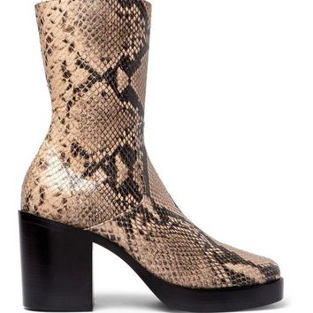 ONETOW balenciaga snake effect leather boots 3