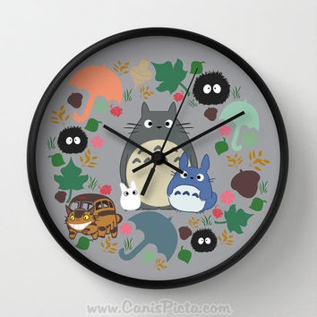 Totoro Catbus Soot Spirt Wall Clock in Natural Wood, Black, or White Frame Blue Grey White Anime Manga Troll Hayao Miyazaki Studio Ghibli