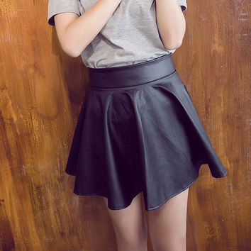 PU Leather Skater Skirt