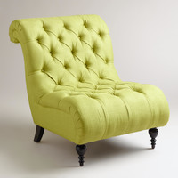 Green Tufted Devon Slipper Chair - World Market