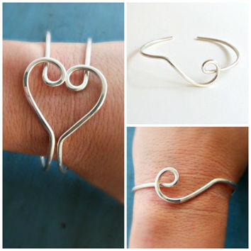 Sterling Silver Bangle Friendship Bracelet Bangle Set of 2 Best Friend Jewelry Sister gift Twins Gift Bridesmaid Jewelry Bridesmaid Gift