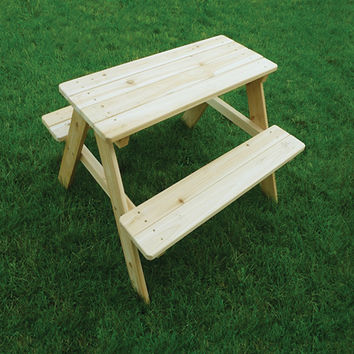 Indoor Outdoor Wooden Picnic Kids Table With Attachable Garden Bench