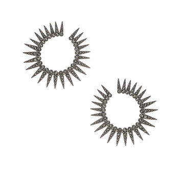 Oscar de la Renta Sea Urchin Large Crystal Earrings in Black Diamond | FWRD