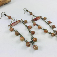 Unakite gemstone earrings, boho style, chandelier earrings, orange jewelry, gemstone earrings, bohemian jewelry, chic earrings