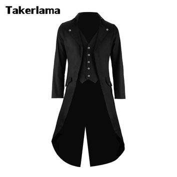 Takerlama Mens Gothic Tailcoat Jacket Steampunk Trench Cosplay Costume Victorian Coat Black Men's Long Tuxedo Suit with Vest