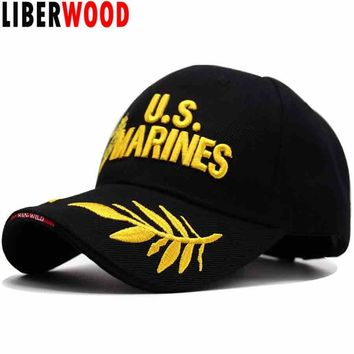 Trendy Winter Jacket LIBERWOOD Men's USMC US MARINES Corps Embroidered Ball Cap USA Navy Tactical Hats Snapback Cap Hat Adjustable Navy Seal Gorras AT_92_12
