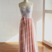 Bustier Dusty Blue Lace Coral Pink Chiffon Long Bridesmaid Dress Prom Dress Wedding dress Strapless Sweetheart Dress