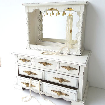 Large Shabby Chic Rustic Vintage Jewelry Box Dresser Mid Century Painted Antique White and Distressed Upcycled Refurbished