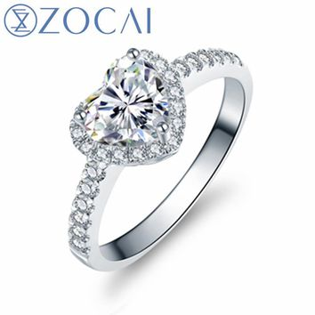 ZOCAI Carat Diamond Effect Heart Cut Shape 0.44 CT Certified D-E/VS Diamond Engagement Women Ring 18K White Gold (Au750) W02994
