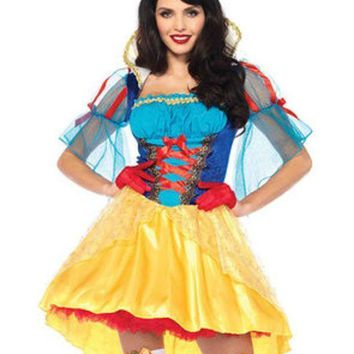 ESBI7E 2PC.Storybook Snow White,high/low dress and matching hair bow in MULTICOLOR