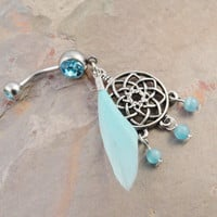 Aqua Blue Feather Dream Catcher Belly Button Jewelry Ring