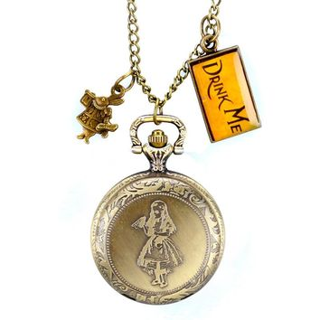 Alice in Wonderland Gift Pocket Watch Hot Drink Me Tag Rabbit Necklace Pendant Modern Cute Fashion