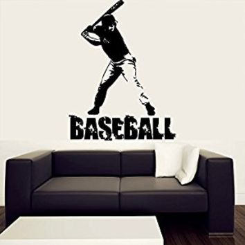 Wall Decal Vinyl Sticker Decals Art Decor Design Baseball Player Sign Word Letters Kids Children Game Sport Living Bedroom Nursery (r415)