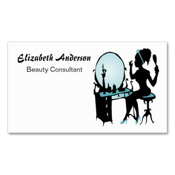Beauty Consultant Girly Teal Black Hair Salon Double-Sided Standard Business Cards (Pack Of 100)