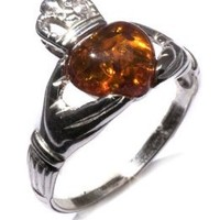 Certified Genuine Honey Amber and Sterling Silver Irish Claddagh Ring: Jewelry: Amazon.com